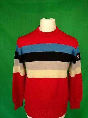 Maglione Lana Uomo Vintage FILA Man Sweater Pullover Wool Jumper Rosso Red