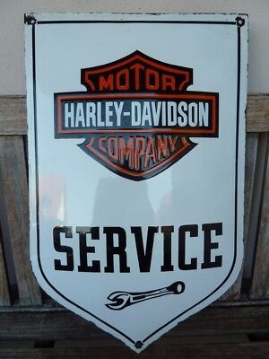 "old HARLEY DAVIDSON ,service porcelain sign 24"" heavy convex oil collectible rar"