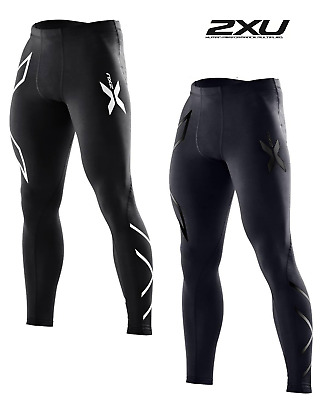 2XU Mens Compression Tights Running Fitness Men Gym Pants Elastic Cycling Black