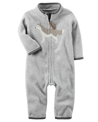Carters NB 3 6 9 12 18 24 Months Wolf Fleece Jumpsuit Coveralls Baby Boy Clothes