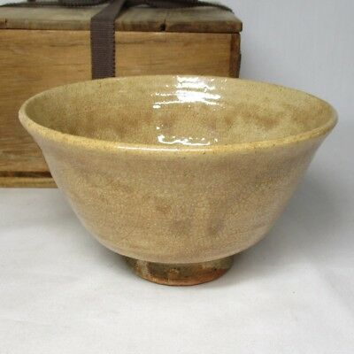 B296: Japanese old HAGI pottery tea bowl of good atmosphere with box