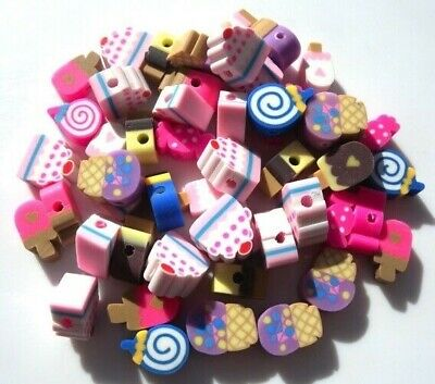 60 Mixed Fimo Clay Cakes Icecreams Sweets Candy Beads - 10Mm = Fast Free P&P