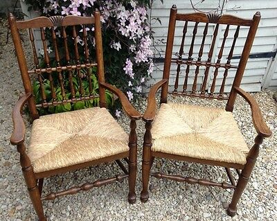 ~Antique Style Vintage c.20th Pair Spindleback Oak Rush Seat Armchairs~   444