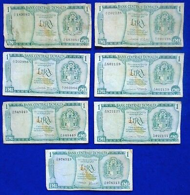 1973 Malta Liri Lot/Collection Of 7 Banknotes 1Lm Circulated One Maltese Pound.