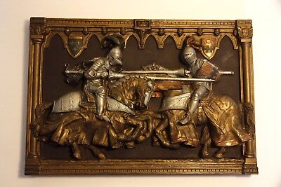 Marcus Designs, Medieval Wall Plaque, Mounted Knights Jousting, Made In England