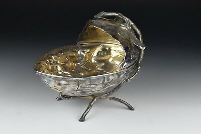 Antique WMF Silverplate Figural Walnut Fruit or Candy Bowl