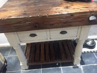 Kitchen Island Butchers Block solid wood with drawers and shelf