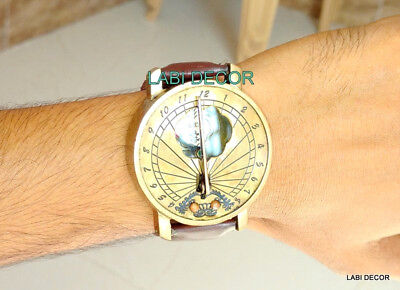 Steampunk Brass Compasses Sundial Watch Style Vintage Marine & Navigation Clock