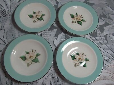 4 Homer Laughlin Lifetime China Turquoise Magnolia Saucers  6""