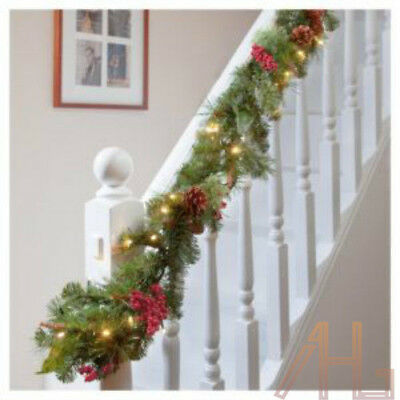 Xmas Large 9Ft Luxury Light Up Led Pre Lit Garland Decorated Christmas Berries