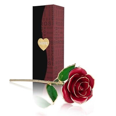 OUTAD Love Forever Beautiful Long Stem Gold Foil Trim Red Rose Flower Best Gift