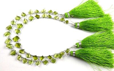 """1 Strand Natural Peridot Twisted Rectangle 5x7-8x10mm Faceted Gemstone 7"""" Long"""