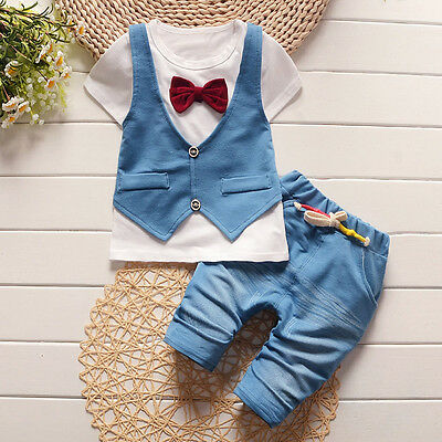 Kids Toddler Baby Boys Handsome Waistcoat T-shirt Tops+Pants Clothes Outfit 2PCS