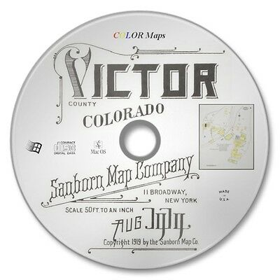 Victor County, Colorado 14 Color Sanborn Map Sheets Year 1919 on New CD