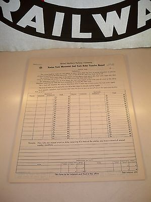 1960 Set of 10 UNUSED GNRY Co 2 Sided Station Train Movement Forms