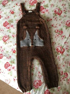 Next Snuggly Knitted Fox Dungarees 12-18M