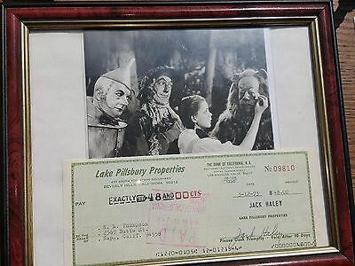 Jack Haley Wizard Of Oz Coa Authenticated Signed Check Autograph And Movie Still