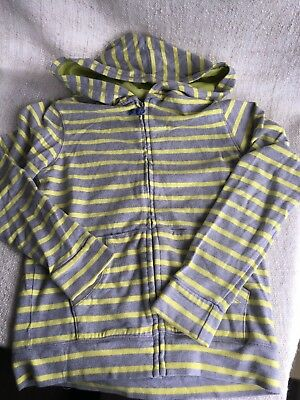 Mini Boden Kids zip front Striped Hoodie Grey/ Yellow Age 9-10