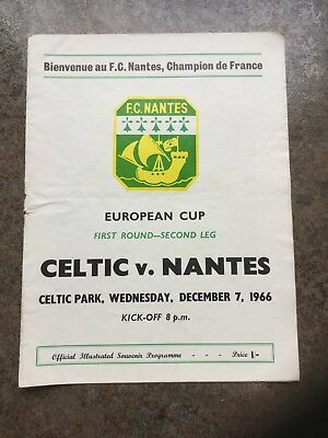 Celtic v Nantes  7th Dec 1966 European Cup 1st Round Lisbon Season