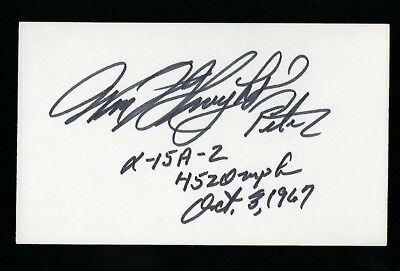 Pete Knight signed 3x5 card Military USAF Test Pilot Astronaut X-20 Dyna-Soar