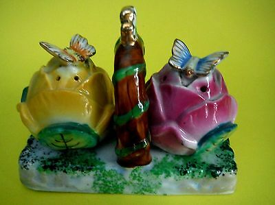 JAPAN / Vintage Salt & Pepper / Butterflies on Rosebuds on Tray