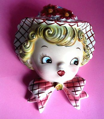 JAPAN / Vintage Wallpocket / Lefton PY / Miss Dainty with eyes looking right