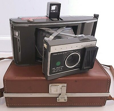 Vintage Polaroid Land Camera J66 Adapter for Type 48 film With travel Case used