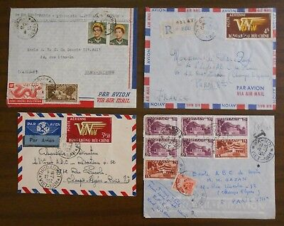Vietnam 1950-55 four official special covers from Indochina to France