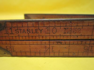 Stanley No. 52 Wood & Brass Folding Ruler Tool Vintage Used New Britain Poxwood