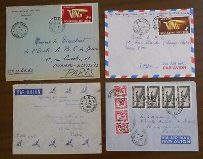 Vietnam 1950-55 Indochina four covers to France