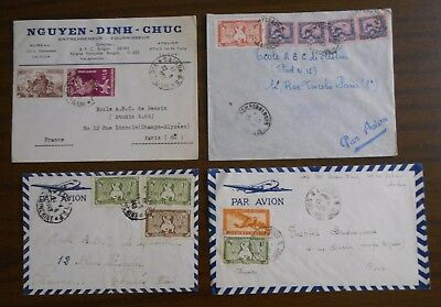 Vietnam 1950-55 Indochina four special official covers to Paris