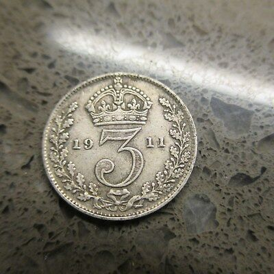Real silver 3d Three Pence coin 1911 Fine for collecting or invest in silver