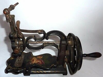 ANTIQUE 1860's '70's A.F. JOHNSON & Co CAST IRON HAND CRANK SEWING MACHINE,NICE!