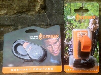 Bear Grylls Compact Compass AND Ultimate Survival Whistle Gerber