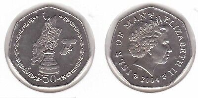Isle Of Man - 50 Pence Unc Coin 2004 Year Km#1293 Tourist Trophy Races