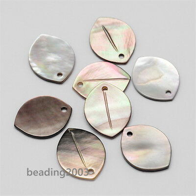 50pcs Oval Black Lip Shell Pendants Charms Mixed Color Jewelry Findings 18mm