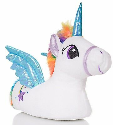Novelty Adults Blue Unicorn Slippers with 3D Eyes, Horn and Wings Sizes: 3-8