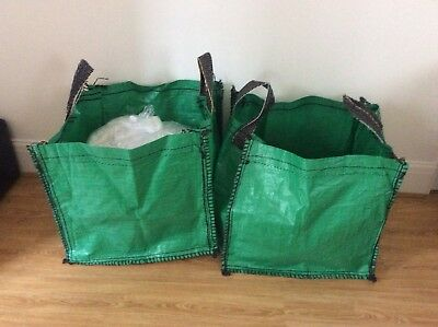 Three  Garden Waste Bags - Heavy Duty Large Refuse Sacks with Handles