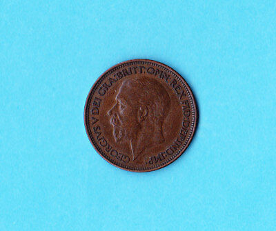 1925 Very Clean UK -  Great Britain Half Penny Coin