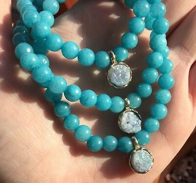 Saharan Aqua Aura Druzy Charm Bracelet 6mm Beads Dyed Quartz 17cm Long
