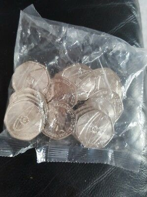Sealed Bag of 20 Uncirculated Issac Newton 50p Fifty Pence Coins
