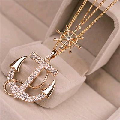Fashion Charm Jewelry Pendant Anchor Chain Long Gold Crystals Sweater Necklace