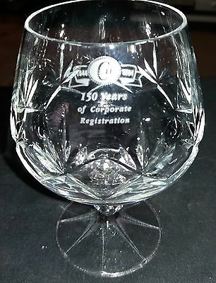 Beautiful Top Quality Crystal/Cut Brandy Glass / Goblet, Engraved Faceted Stem