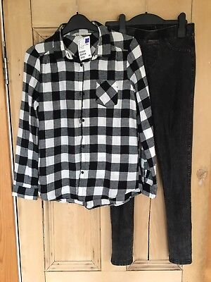 H&M Girls Jeggings & Checked Shirt (age 11-12)