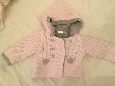 Baby Girls 0-3 Months Pink & Grey Spanish Chunky Cardigan Winter