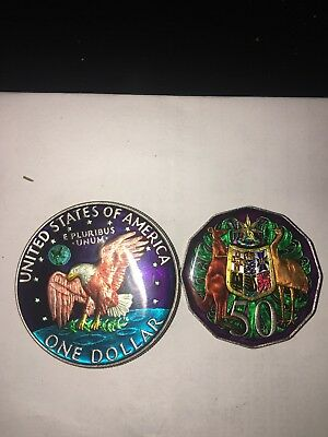 Enamelled Coin one American dollar and Australian 50cents