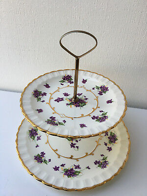 2 tier Violets with Gold Rim Cake/Dessert Plate/Server by Woods (584)