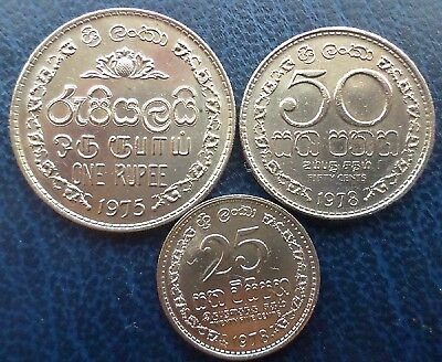 Sri Lanka (Ceylon) - lot of 3 coins - 1 Rupee,  50 & 25 Cents - 1975 & 1978