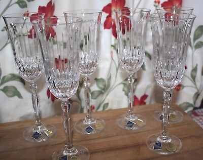 BOXED - 6 x BOHEMIA CRYSTAL CHAMPAGNE FLUTES/GLASSES - HAND CUT