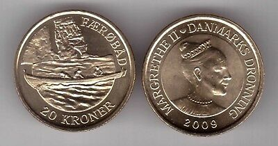 Denmark - 20 Kroner Unc Coin 2009 Year Km#936 Ship Faeroe Islands Boat
